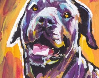 Cane Corso portrait art print of pop dog painting bright colors 12x12