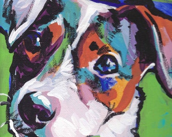 smooth Jack Russell Terrier art print pop dog art bright colors 8x8
