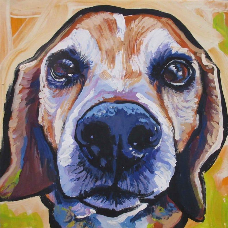 BEAGLE dog art portrait print of pop art painting bright colors 12x12