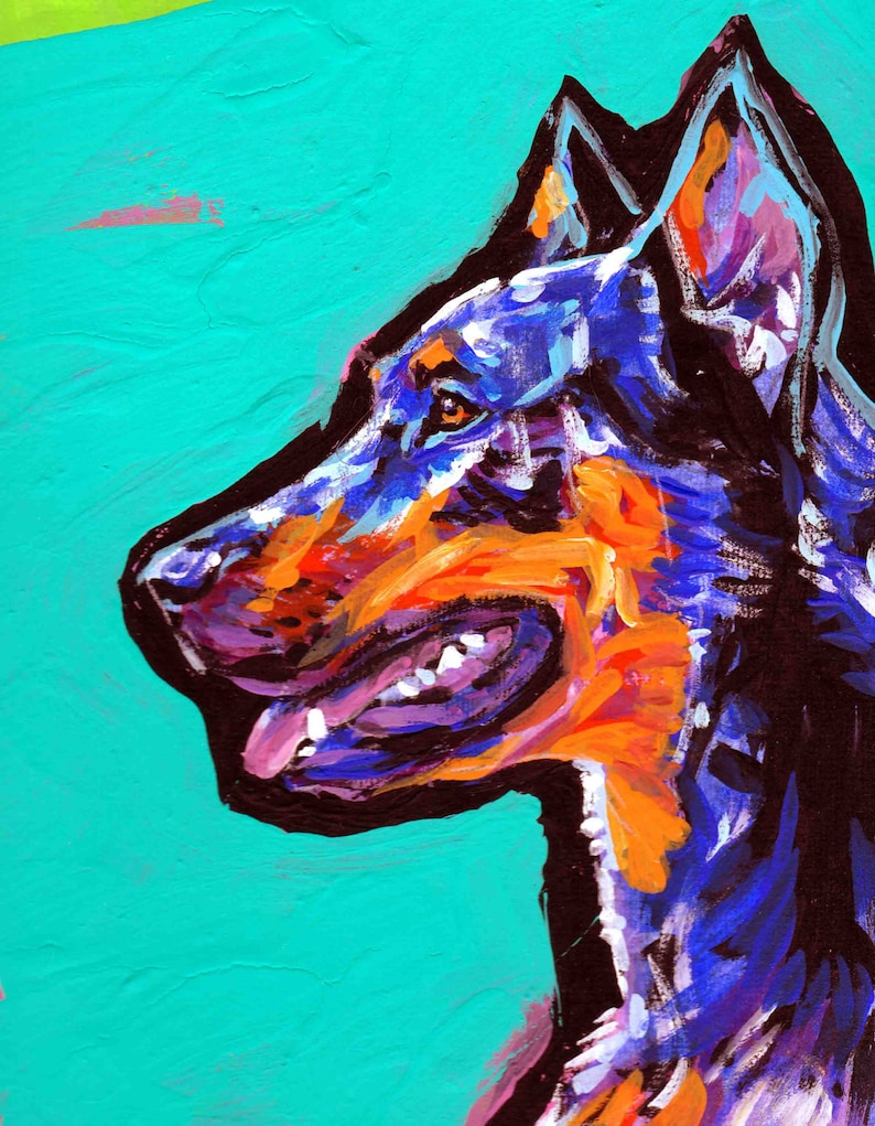 Beauceron dog art print of pop art dog painting bright colors 8.5x11 LEA