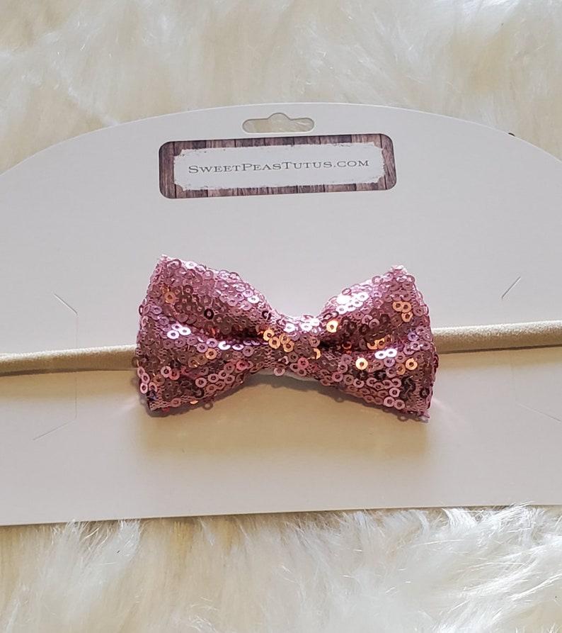 Petite Pink Sequin Bow on Nylon Headband