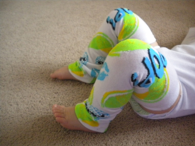 Baby Legwarmers White with LemonLime Yellow and Green Bright Blue Kisses READY TO SHIP