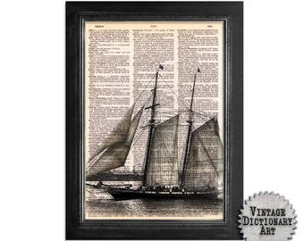Sailing Ship - Printed on Recycled Vintage Dictionary Paper - 8x10.5