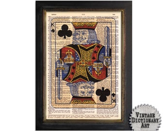 King of Clubs Playing Card - Printed on Vintage Dictionary Paper - 8x10.5