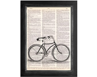 The Lovely Vintage Bicycle - Printed on Vintage Dictionary Paper - 8x10.5