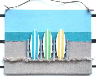 Surfboard Decor - Surfer Art - 3D Surfboard Wall Decor - Surf Sign - Surf Decor - Surf board Decor - Beach Decor - Beach Canvas - Beach Sign