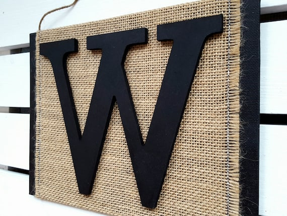 Monogram Letter Sign Letter W Wall Decor 3D Letter Burlap Sign | Etsy