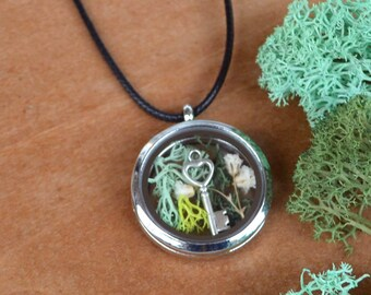 Mothers Day Locket, Shadow Box Necklace Spring Jewelry, Moss Necklace, Flower Locket Necklace, Glass Locket, Glass Terrarium, Locket Jewelry