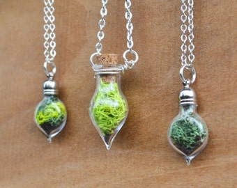 Terrarium Necklace, Plant Necklace, Moss Necklace, Spring Jewelry, Miniature Terrarium, Botanical Jewelry, Moss Jewelry, Nature Necklace