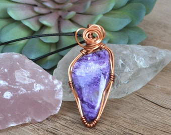 Charolite Necklace, Charolite Jewelry, Jewelry for Fall, Large Stone Necklace, Copper Wire Wrapped Pendant, Purple Stone Necklace, Canada
