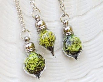 Terrarium Necklace, Moss Necklace, Moss Jewelry, Plant Necklace, Gift for Daughter, Nature Lovers Gift, Glass Vial Necklace, Canadian Shop