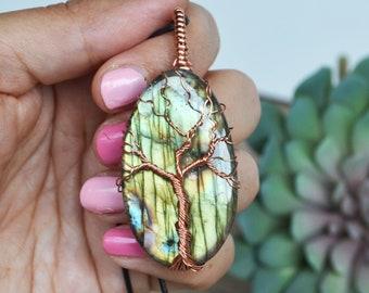 Fall Jewelry, Tree Labradorite Necklace, Labradorite  Necklace, Copper Tree Pendant, Birthday Gift Jewelry, Golden Labradorite, Canadian