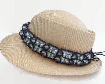 Ruffled Handwoven Hatband, Adjustable