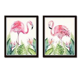 Watercolor Flamingos Print Set No. 1, Bird Prints, Giclee, Art Print, Coastal Art Wall Art Coastal Decor Beach Cottage Decor Flamingo Prints
