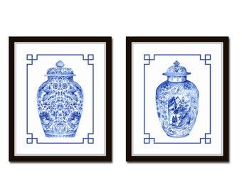 Blue and White Chinoiserie Porcelain Vase Print Set No. 3, Ginger Jar Prints, Chinese Porcelain Prints, Giclee Prints, Wall Art, Print Sets