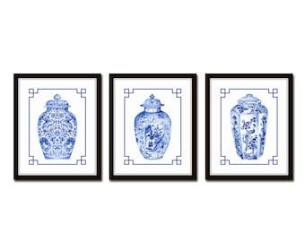 Blue and White Chinoiserie Porcelain Vase Print Set No. 2, Ginger Jar Prints, Chinese Porcelain Prints, Giclee Prints, Wall Art, Print Sets