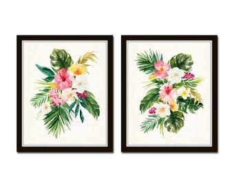 Watercolor Tropical Flower Bouquet No. 1, Print Set, Giclee, Art Prints, Botanical Prints, Coastal Art, Tropical Art, Wall Art, Wall Decor