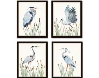 Watercolor Heron Print Set No. 4, Bird Prints, Giclee, Art Print, Coastal Art, Wall Art, Coastal Decor, Seabird Print Set, Nautical Art