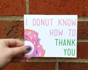 I Donut Know How to Thank You Single Card with Matching Envelope