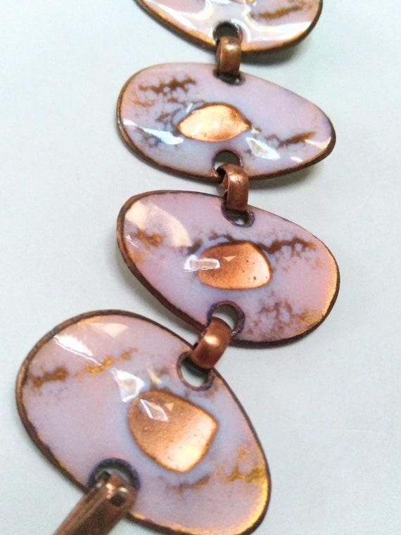 Mid Century Modern Enamel Copper Bracelet Signed