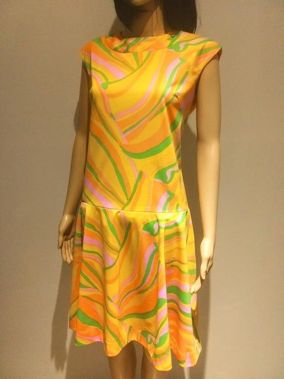 Mod Polyester 1970s Dress