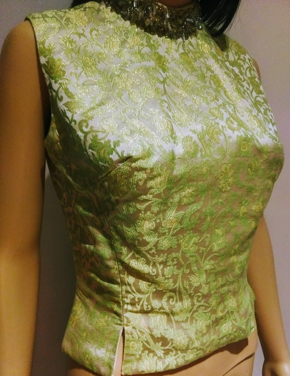 1960s MOD Crop Top -  Brocade, Fitted,  Sleeveless