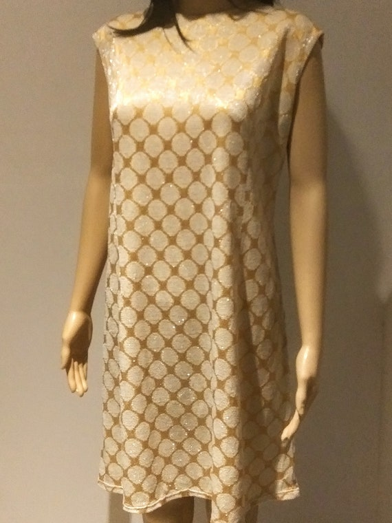 Mod 60s Shimmery Gold Tent Dress