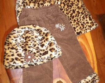 3a1c0b3d93d5bd Toddler Set Faux Fur Cape Hat Pants 12 month old Girl Baby SET Baby Girl Leopard  Animal Print Cord Pants