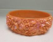 Vintage Bangle Bracelet Auroua Salmon 3D Flowers Gift Chic Cool Rad Lucite