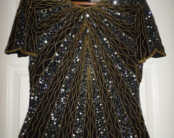 e08fbfb1054de Vintage Beaded Papell Boutique Evening Top Blouse Tunic Small size 6 Black  Gold Silver Sequins Scalloped Hem