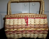 Vintage SEWING Basket BOX Wicker Red 50s 10 x 7 Vcagco Japan