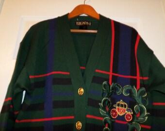 f5bbafe98876 Vintage Escada Cardigan Rare Jacket Knit Sweater Tartan cardigan Carraige  Princess Diana Gold Carraige Buttons Couture