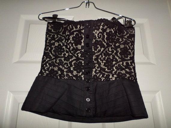 Vintage Lace Bustier Top Black Button Up  Finley … - image 10