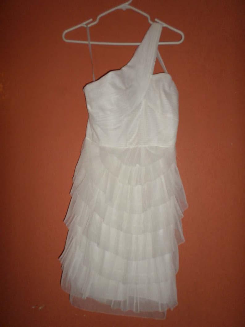 5a97ab17ffd Prom Dress BCBG Dress White Ruffle Evening Dress Prom Dress | Etsy