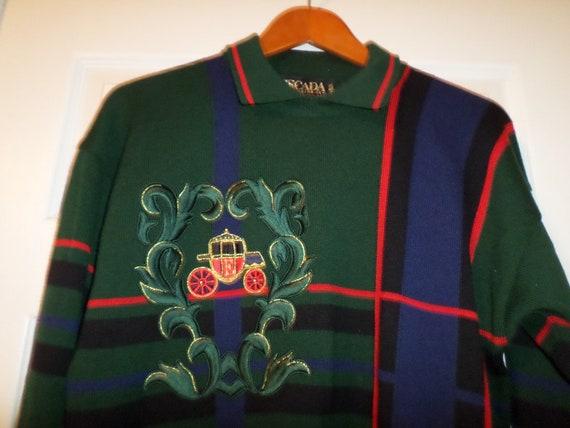 Vintage Escada Sweater Cardigan Tartan Hunter Gree