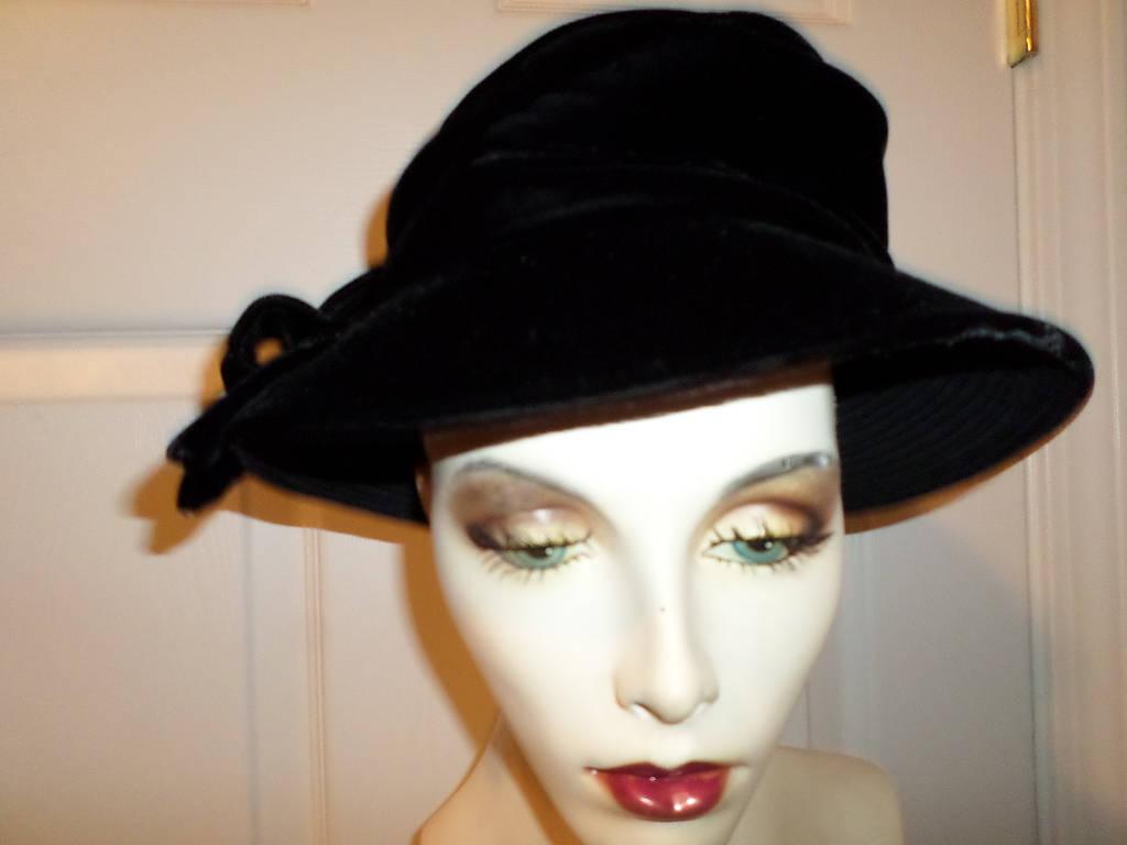 522a32fc3 Sale Vintage Velvet Bucket Hat Joyce Creations of California Clouch Black  Vintage Hat