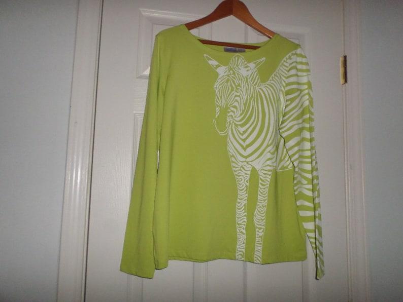 Vintage Tunic Large Zebra Blouse Stretch Top long Sleeve pop Art Lime Green 10/% Spandex 90 polyester