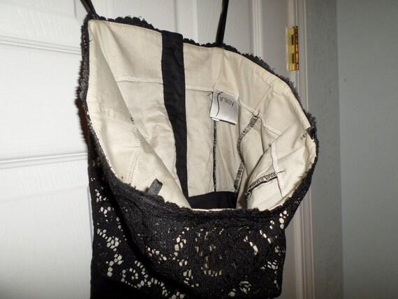 Vintage Lace Bustier Top Black Button Up  Finley … - image 8