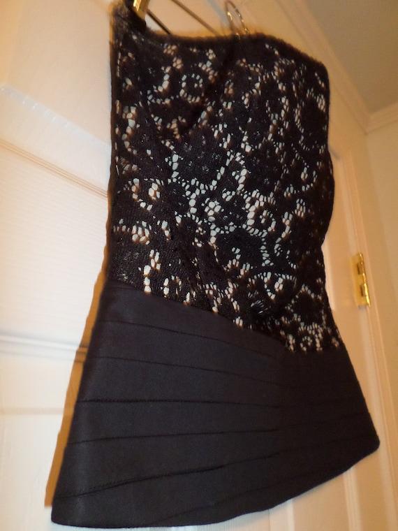 Vintage Lace Bustier Top Black Button Up  Finley … - image 3
