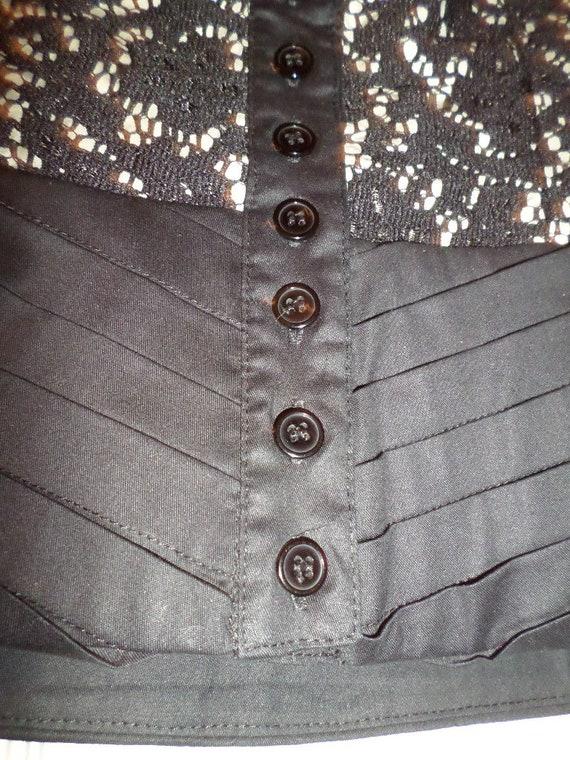 Vintage Lace Bustier Top Black Button Up  Finley … - image 6