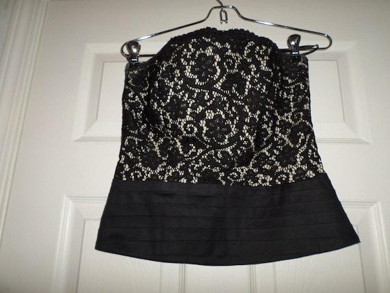 Vintage Lace Bustier Top Black Button Up  Finley … - image 2
