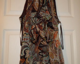 Vintage Blouse Brown Paisley Sleeveless Ruffles Small Side Zip Bohemian Boho Chic