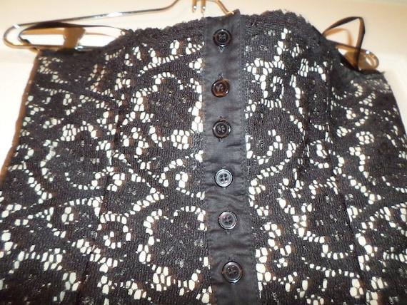 Vintage Lace Bustier Top Black Button Up  Finley … - image 9