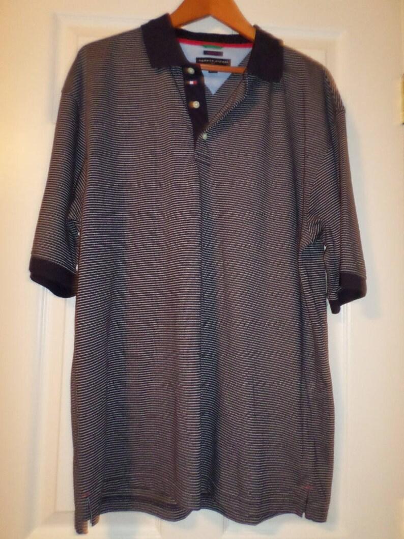 c824ef03 Vintage Tommy Hilfiger Shirt Knit Golf XL Stripe Short Sleeve | Etsy