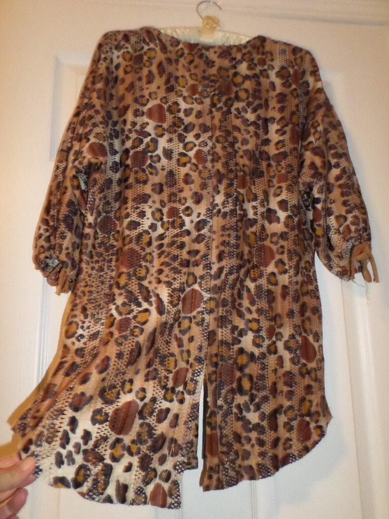 f8f18cca8400bf Vintage Leopard Animal print Top Sheer Womens Tiger Print