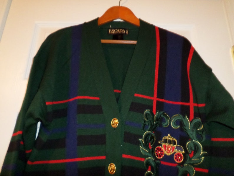 914c01f474 Vintage Escada Cardigan Rare Jacket Knit Sweater Tartan