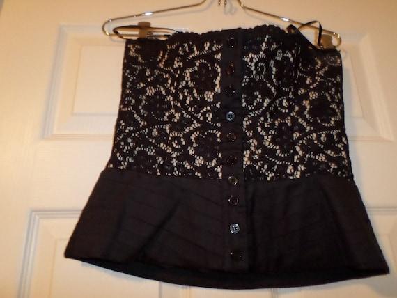 Vintage Lace Bustier Top Black Button Up  Finley … - image 1