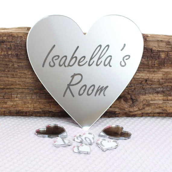 Heart Hand Print Mirror Personalised Door Name Plaque Boy Girls Bed Room Sign