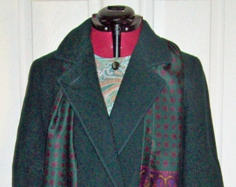 80s  Med Olive Wool Peacoat Vintage