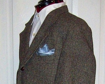 ca28a2139307b Vintage Men's Gray, Off White, Brown & Black Hand Woven Pure Scottish Wool  Harris Tweed Sport Coat Blazer by Orvis Size 44R Only 30 USD